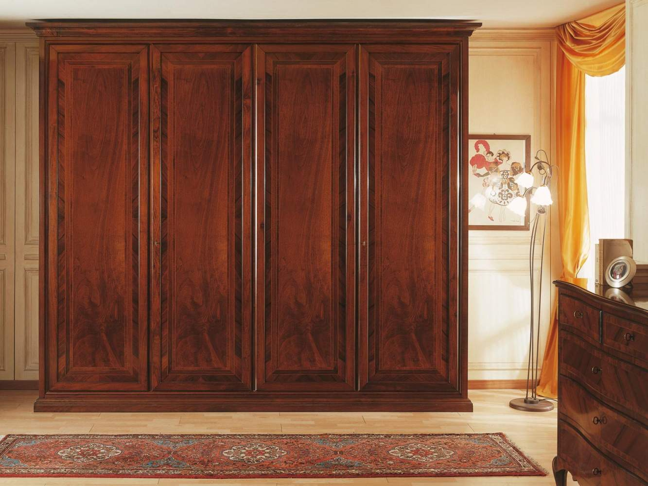 19th century french bedroom, wardrobe two spaces