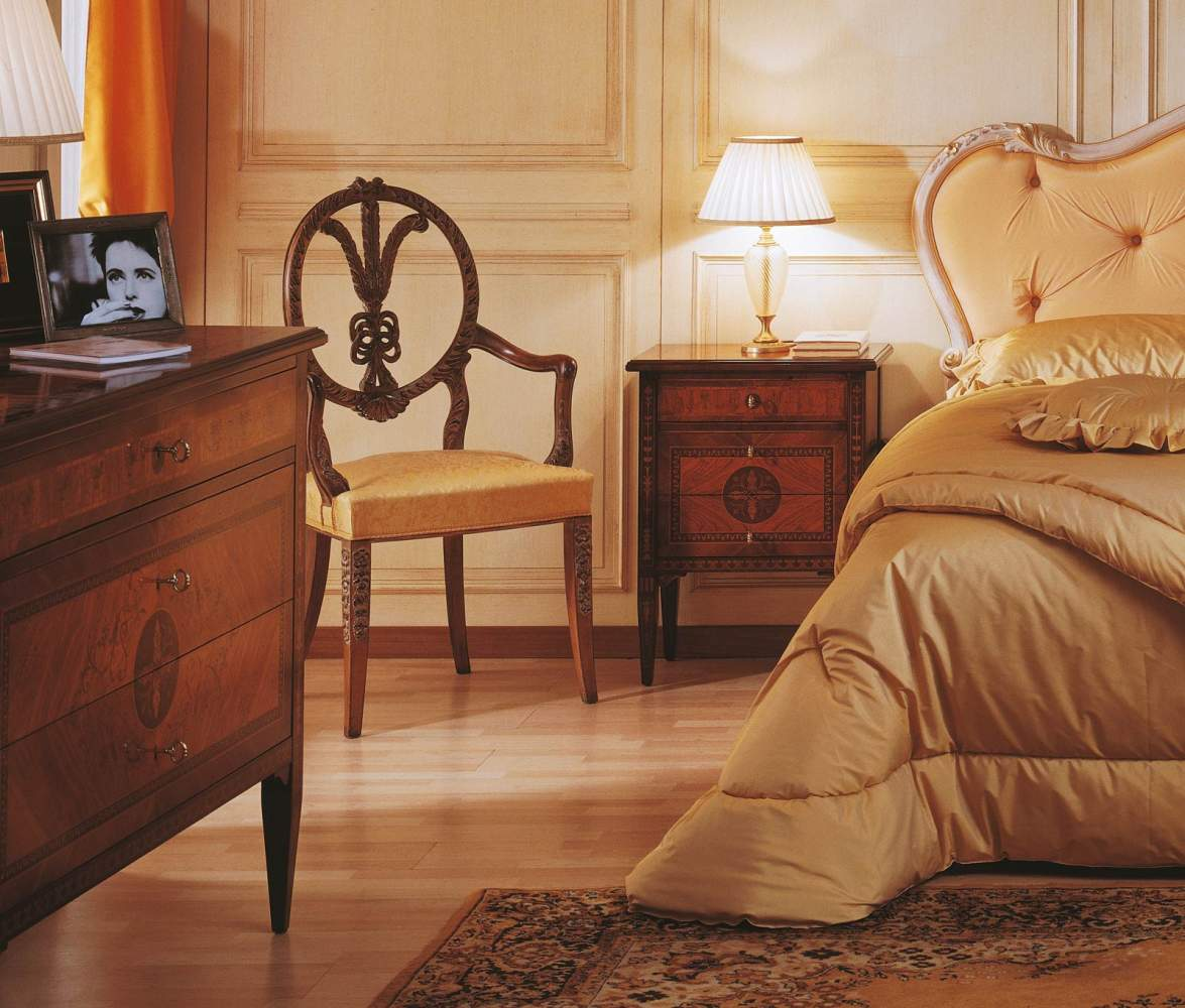 Classic Maggiolini style bedroom, bed, night table and chest of drawers