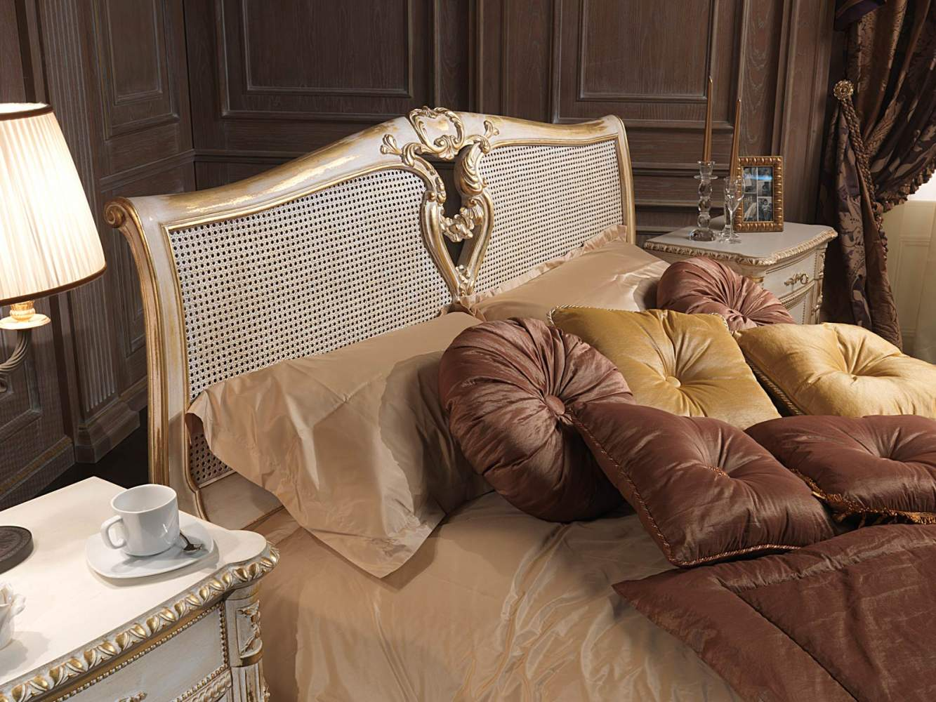 "Classic Louis XVI bedroom, bed with ""canna d'india"" headboard, matching sheets"
