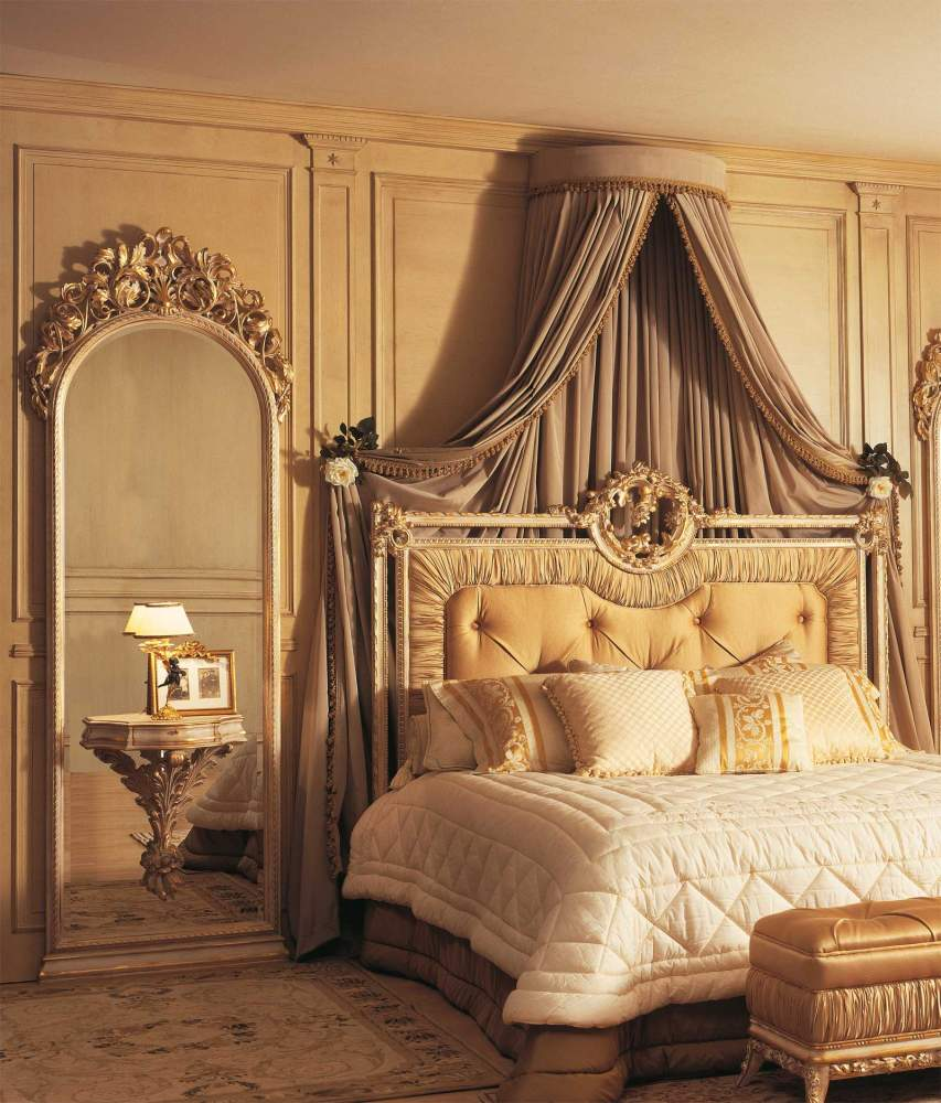 Classic Louvre bedroom, bed, wall mirrors with integrated night tables