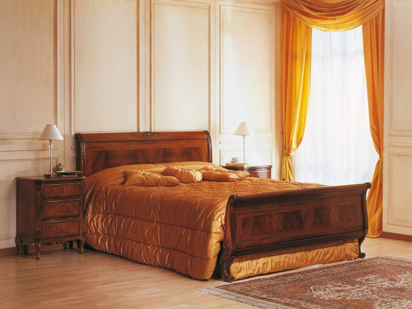 19th century french bedroom, walnut bed and night table