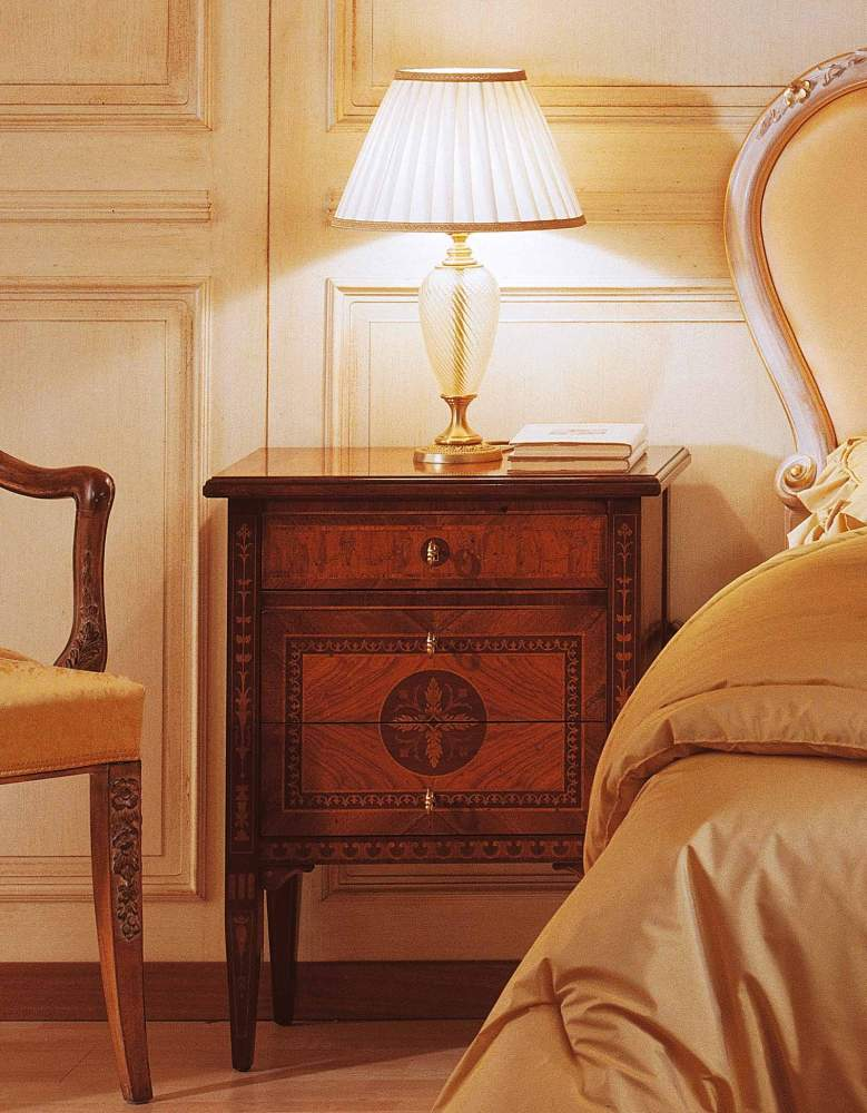 Classic Maggiolini style bedroom, night table in walnut and olive wood