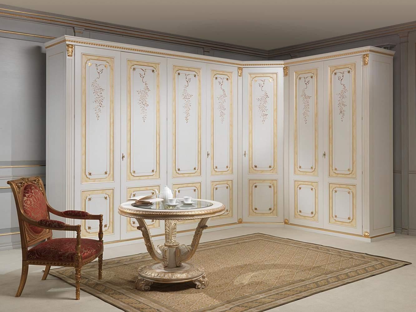 Armoire angulaire classique blanc et or