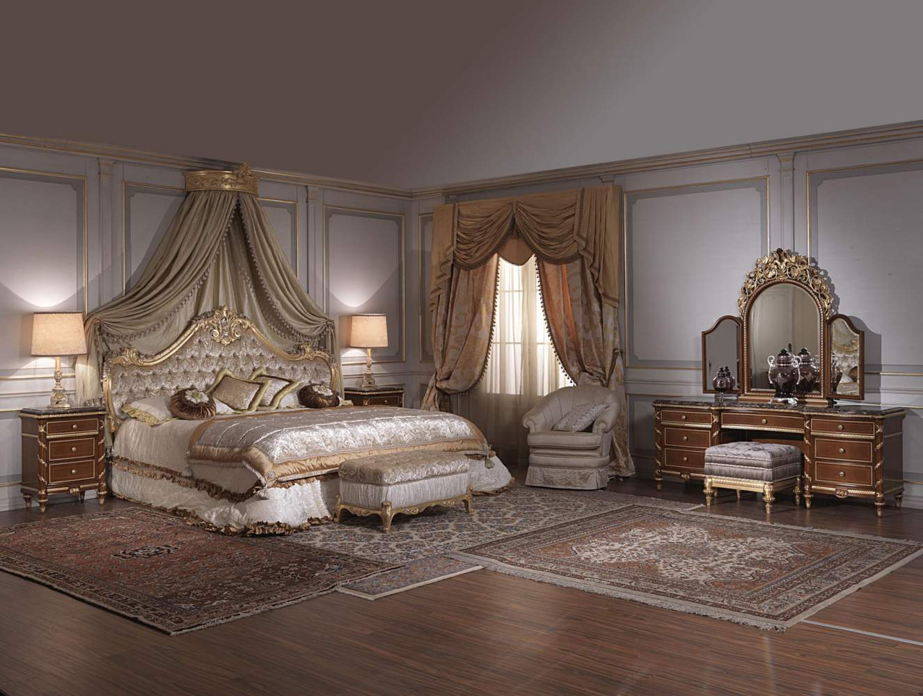 chambre coucher classique xviiie si cle italien toilette et tables de nuit louis xv. Black Bedroom Furniture Sets. Home Design Ideas