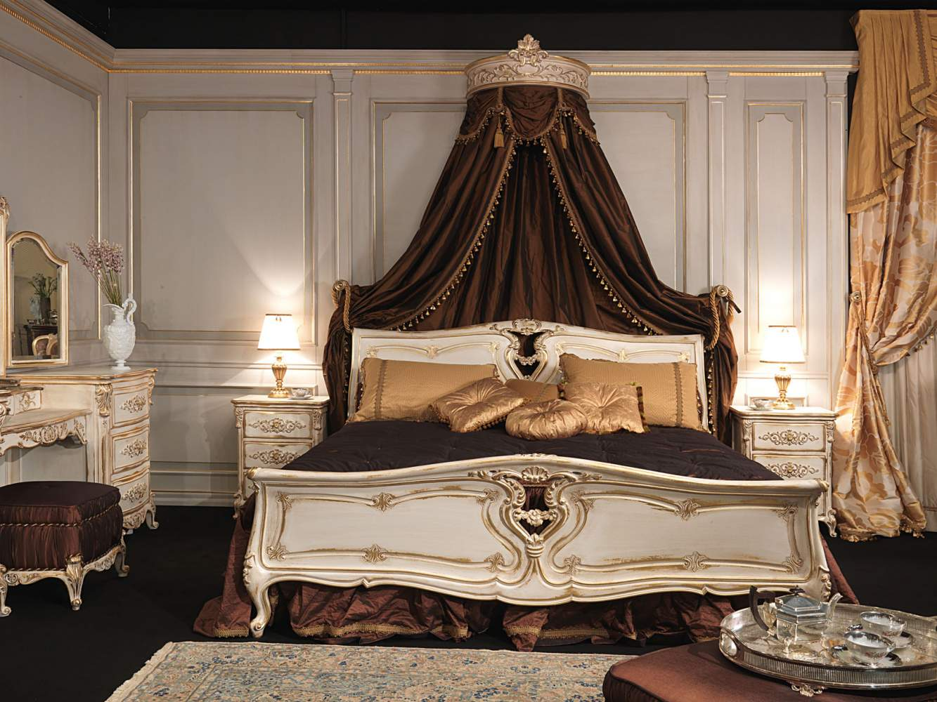 Classic Louis XVI bedroom, carved wood bed with wall baldaquin, carved night tables