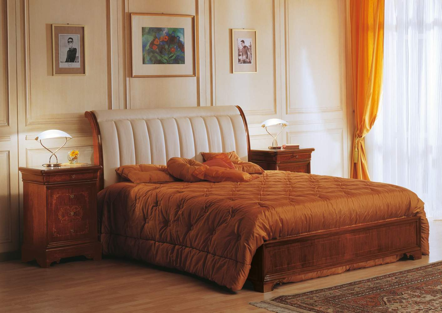 19th century french bedroom, bed with headboard in leather