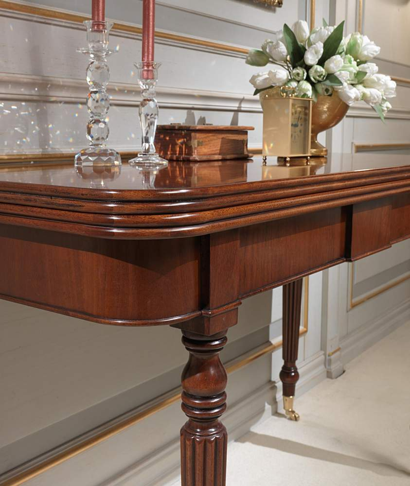 classic extendable console table with wheels, detail