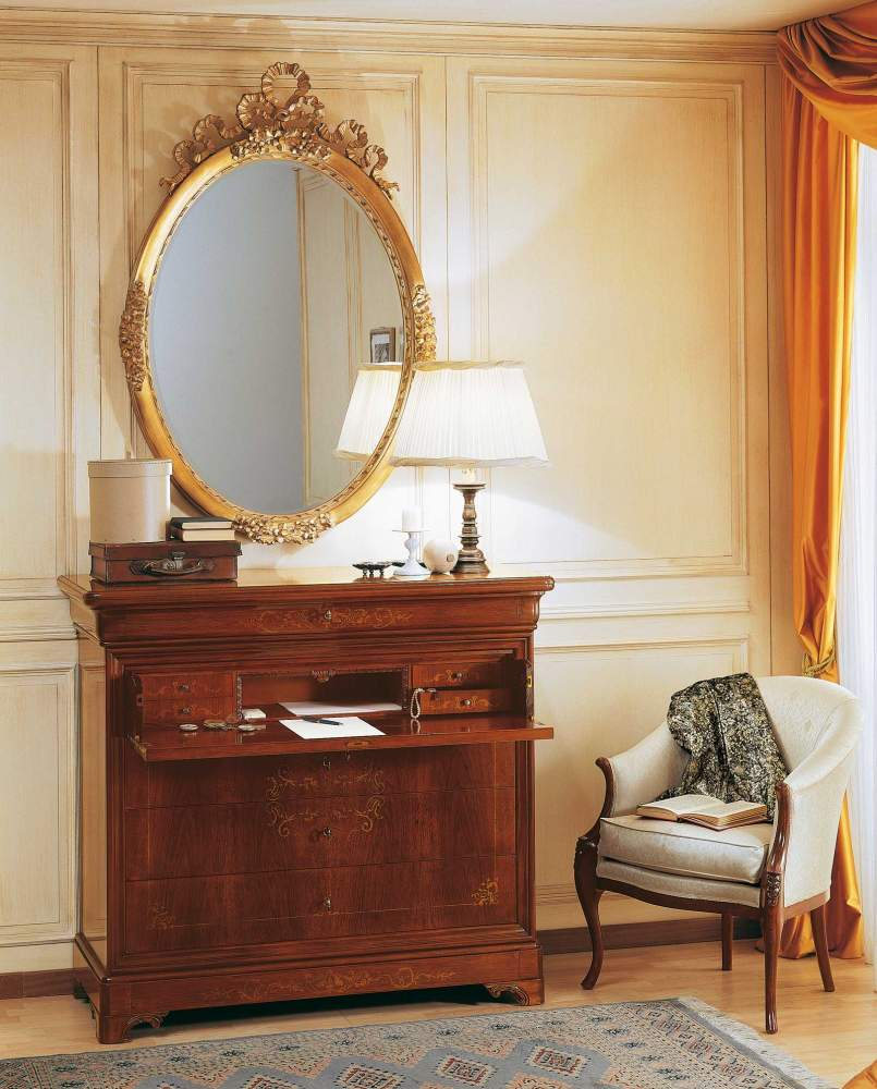 19th century french bedroom, inlaid trumeau and wall mirror
