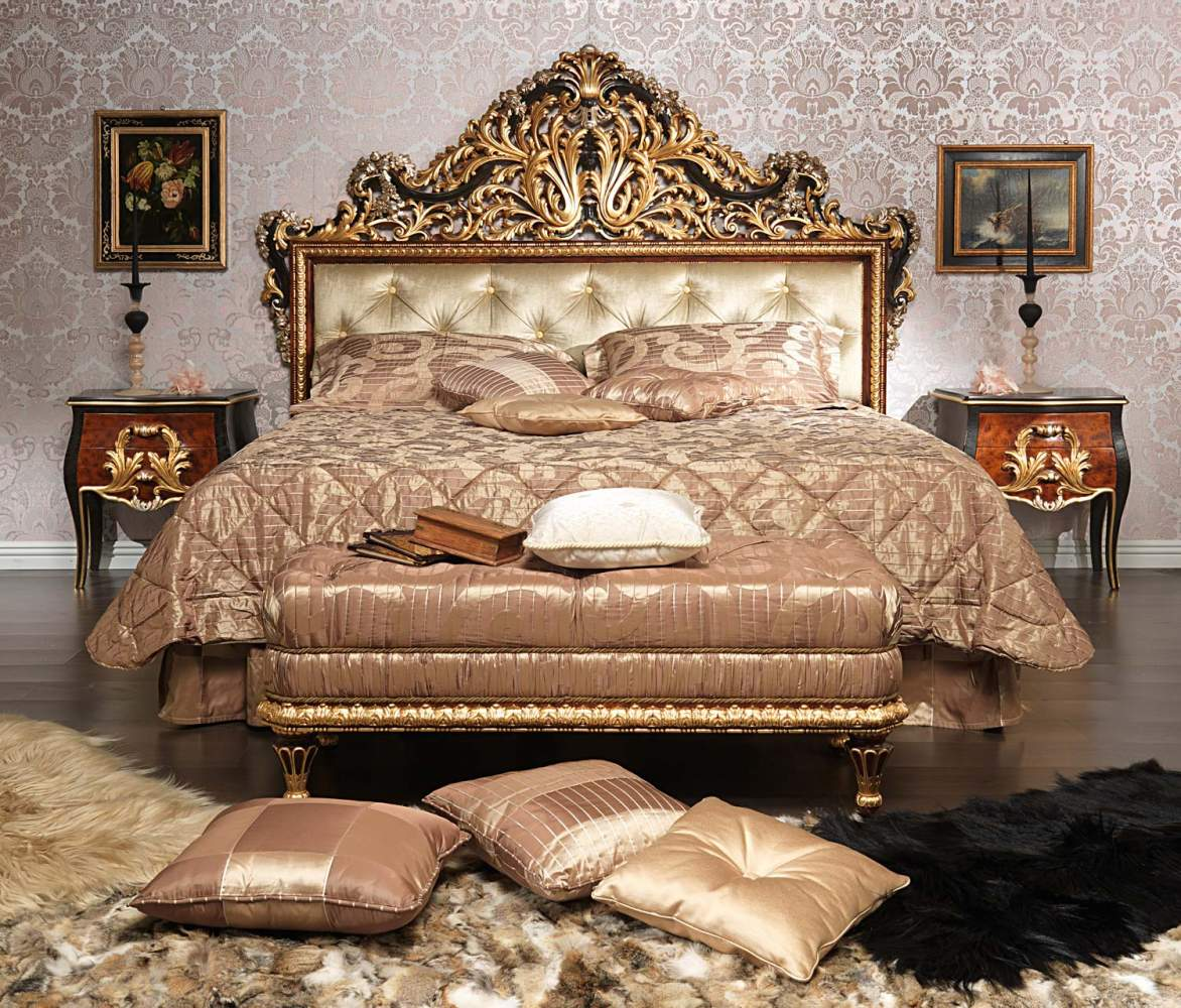 Classic Emperador Black bedroom in carved wood