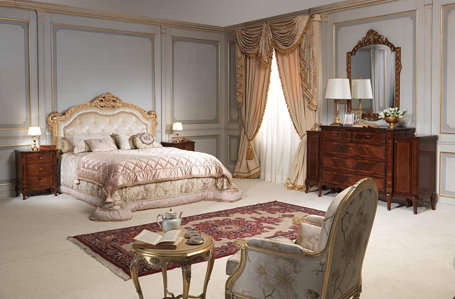19th century french bedroom, capitonnè bed, chest of drawers with mirror, night tables in walnut