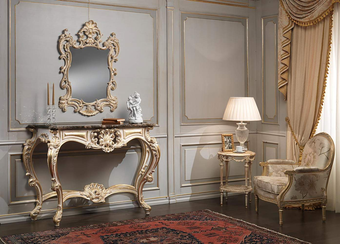 Classic white over gold console and mirror
