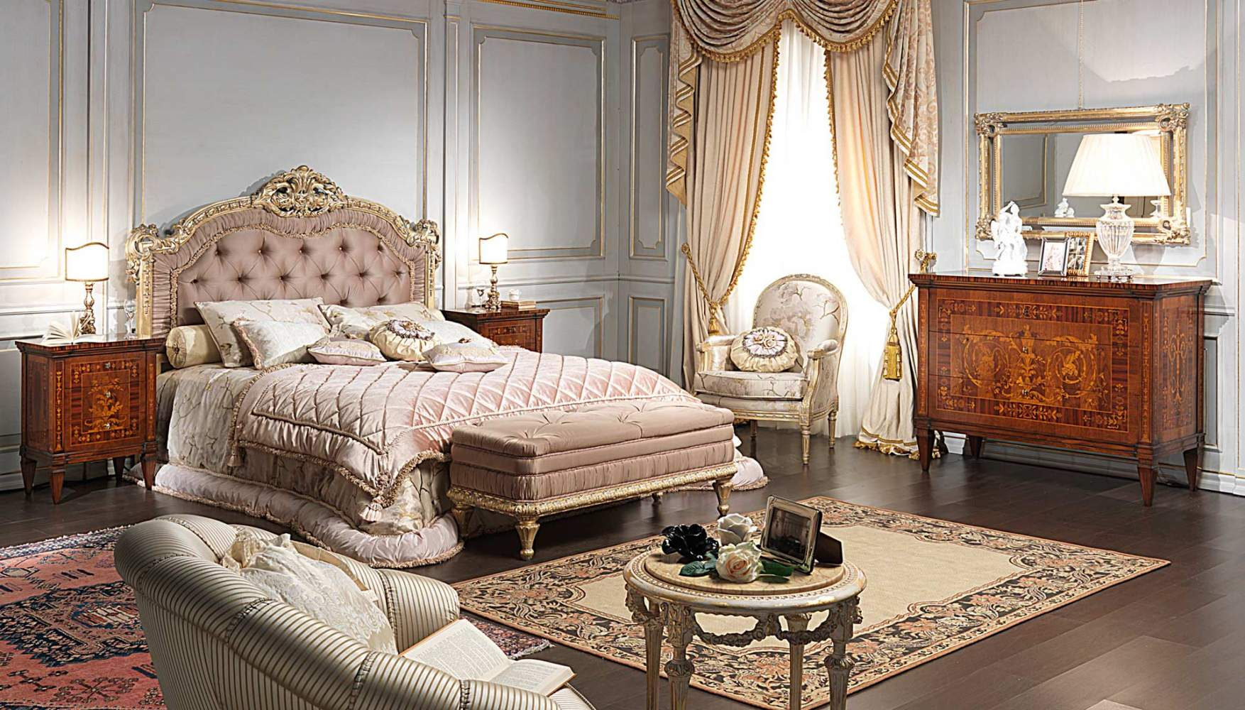 Classic bedroom Maggiolini, capitonnè bed, night tables, bench, chest of drawers, wall mirror