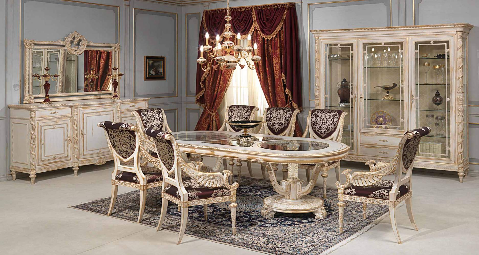 White and gold dining room in louis xvi style vimercati for Classic dining room furniture