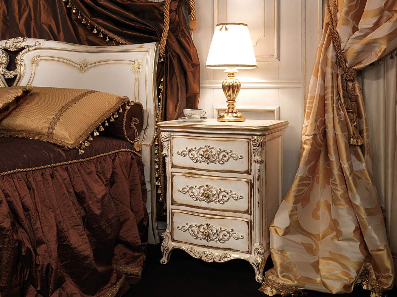 Classic Louis XVI bedroom, carved night table with floral carvings by hand