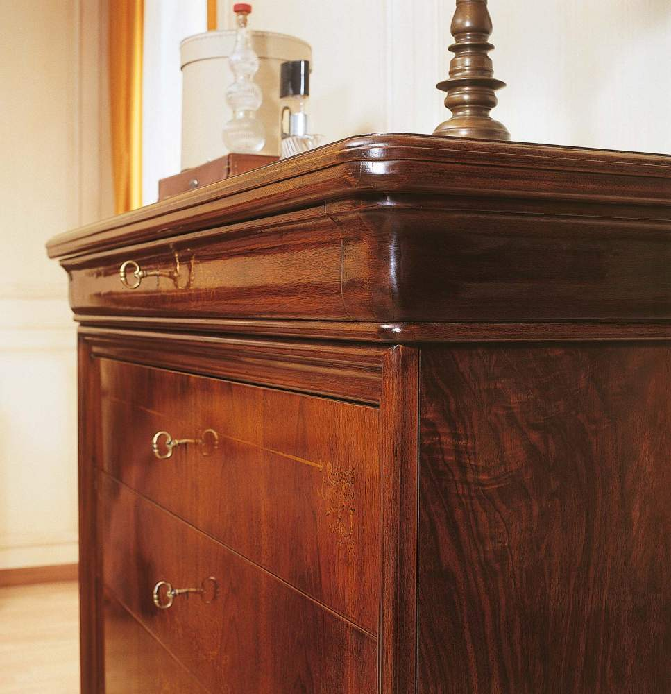 19th century french bedroom, inlaid walnut chest of drawers