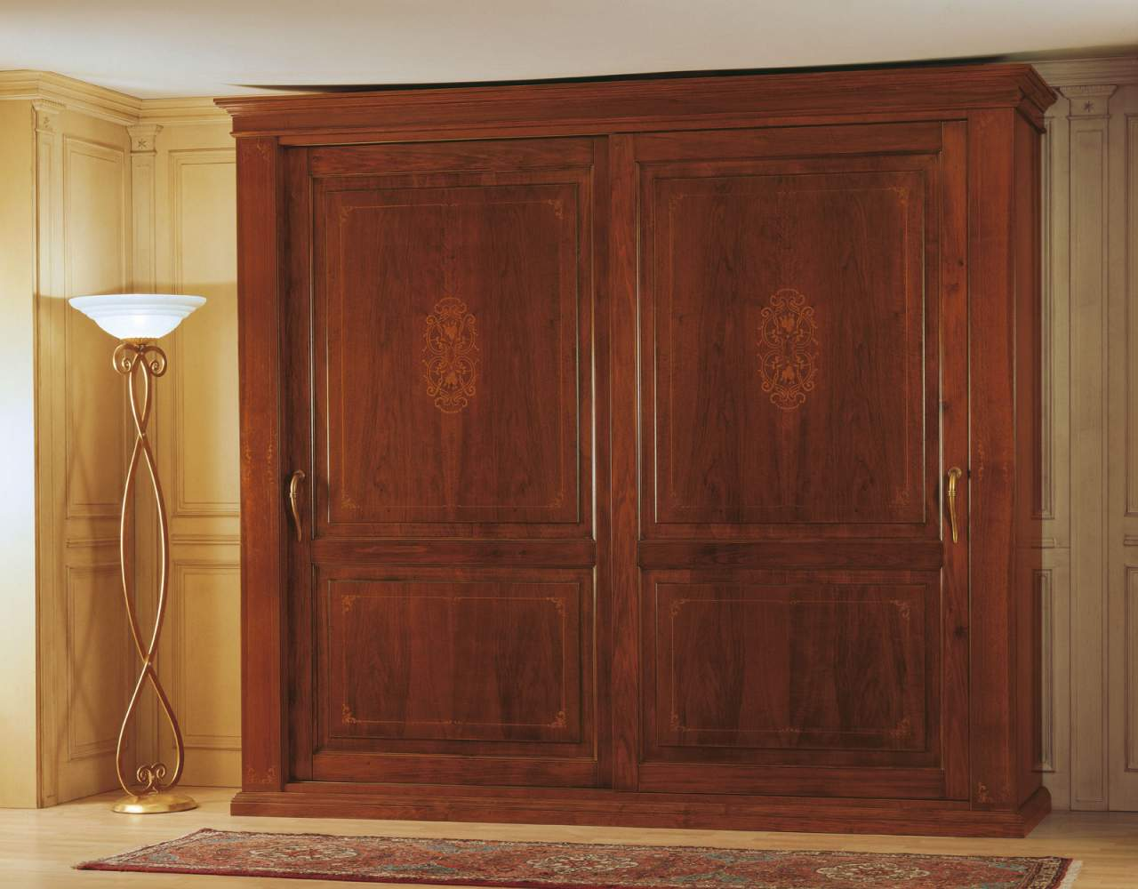 19th century french bedroom, wardorbe with two sliding doors
