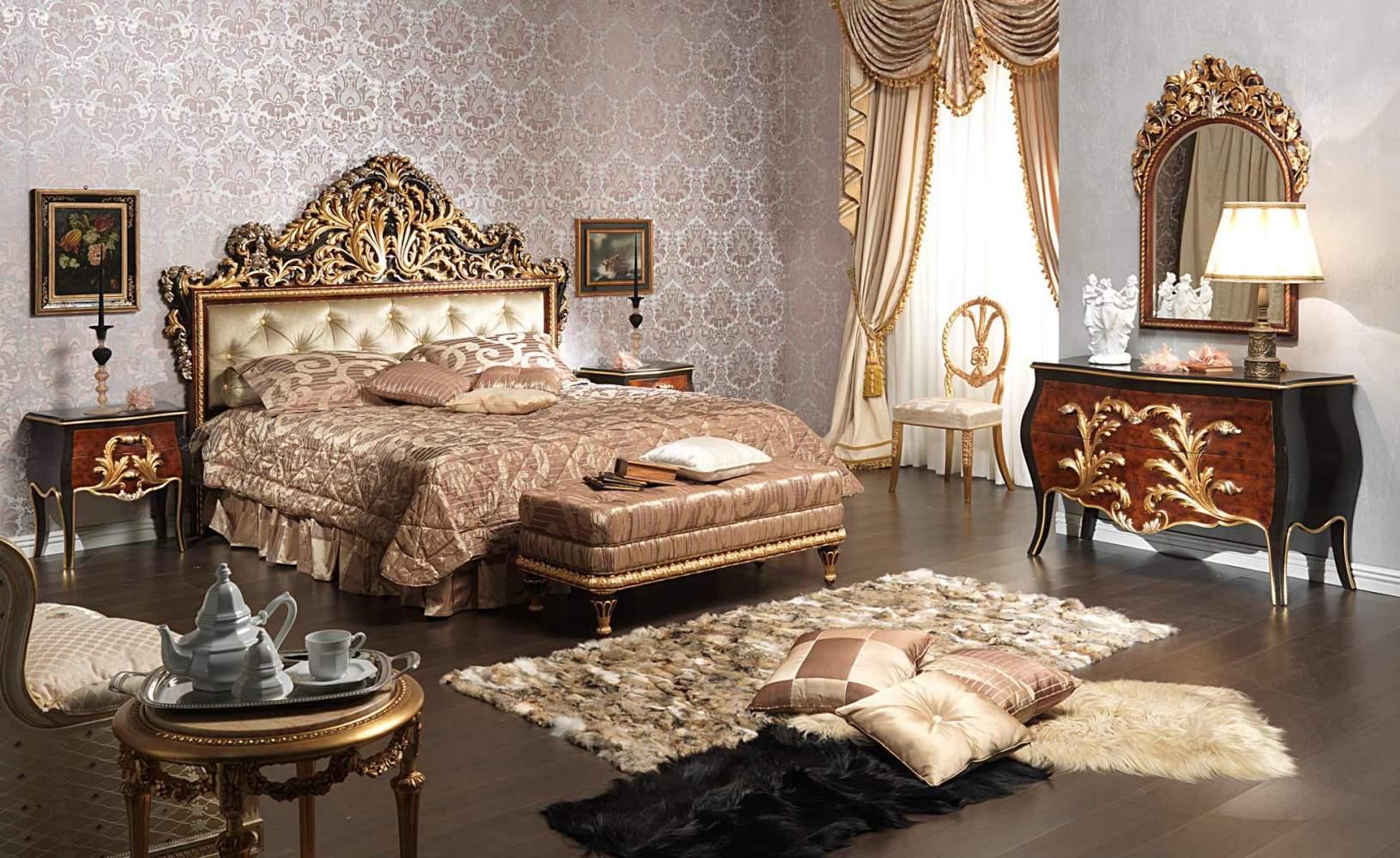Chambre à coucher classique Emperador Black en bois gravé, tables de nuit, table basse, commode et miroir