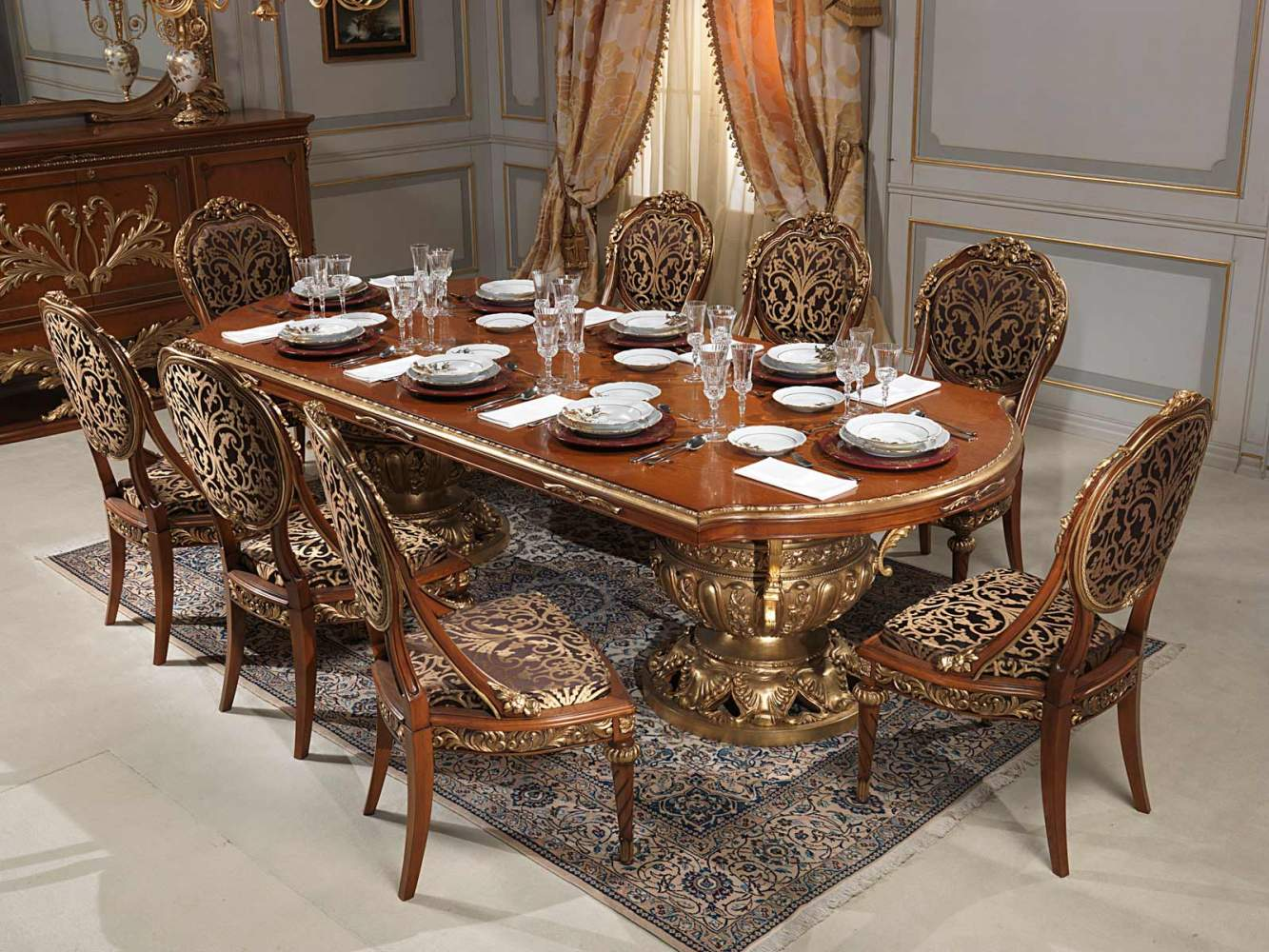 Versailles dining room in louis xvi vimercati classic for Classic dining room furniture