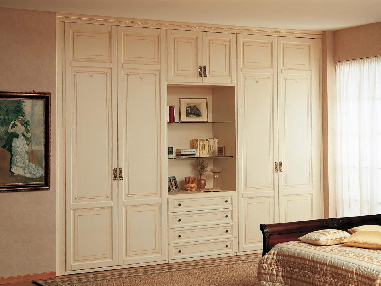 Modular wardrobe with open compartment
