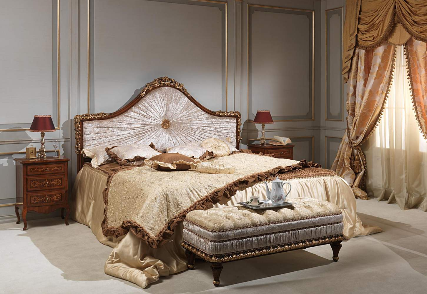 Classic louvre bedroom, bed, bench and chest of drawers