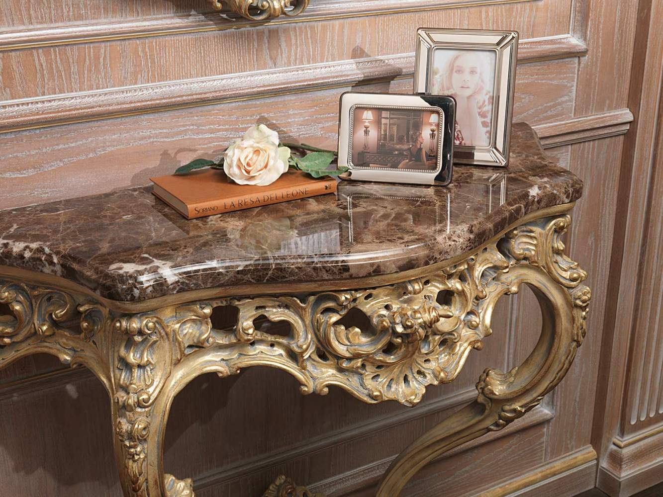 Classic carved console gold coated in grey