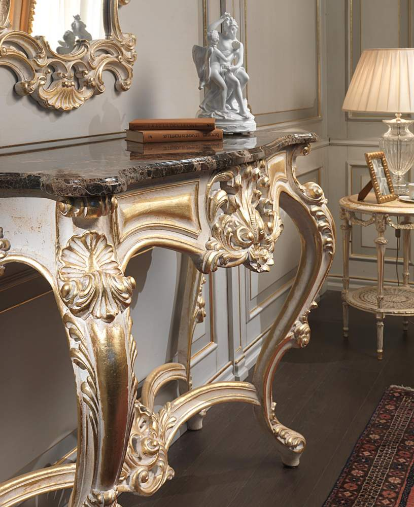 Classic carved console white over gold