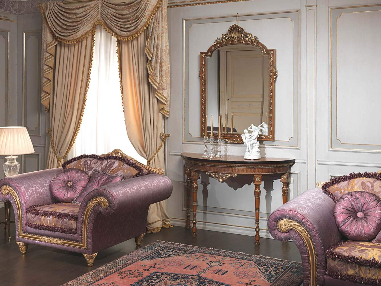 White and gold lacquered boiserie with columns
