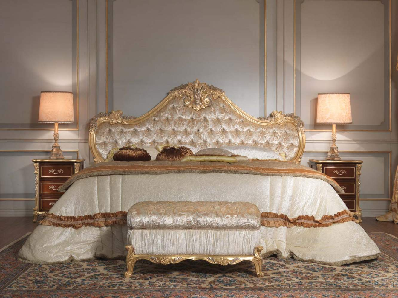 Classic italian bedroom 18th century, bed, bench, night table