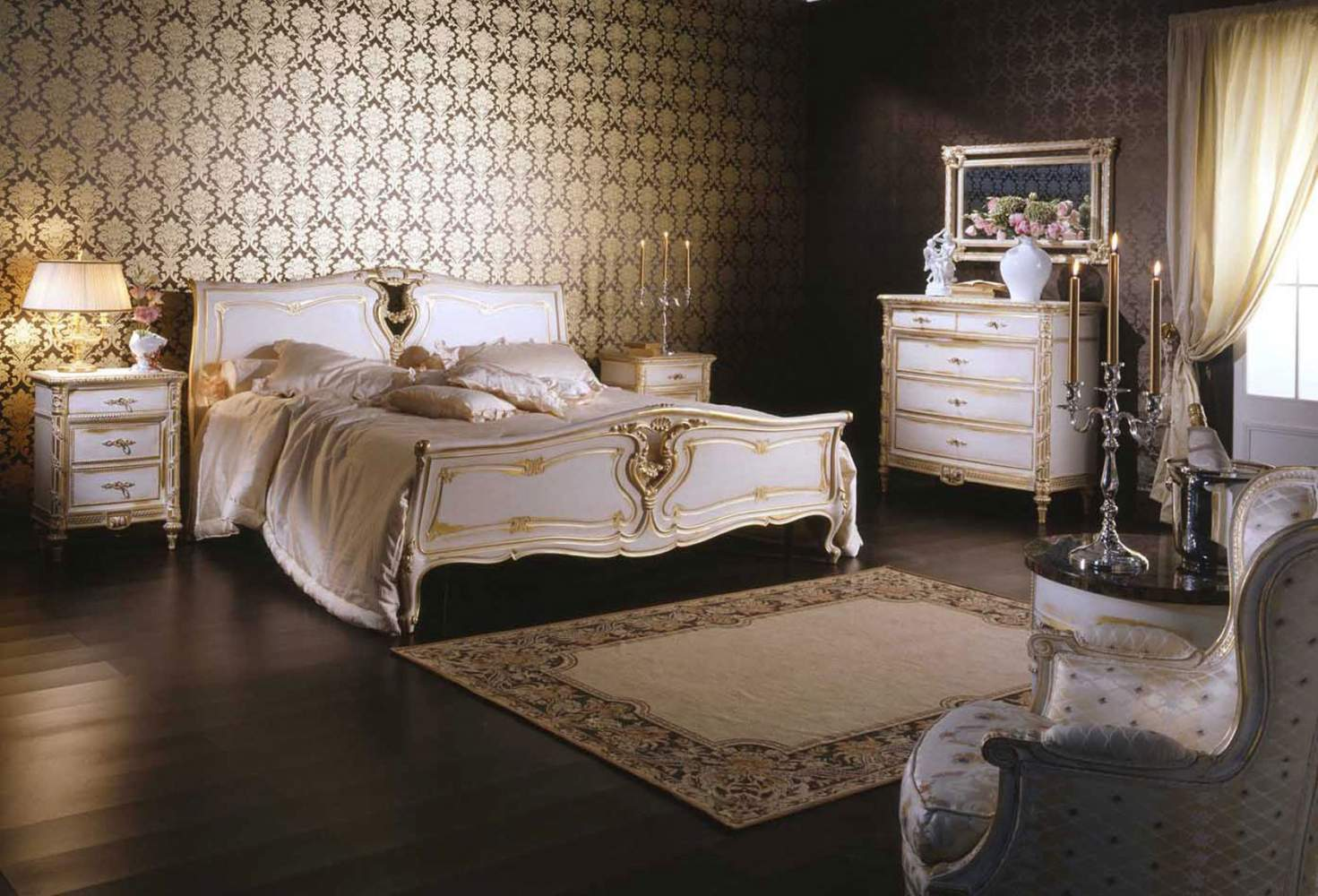 Classic Louis XVI bedroom, wood bed, night tables, carved chest of drawers