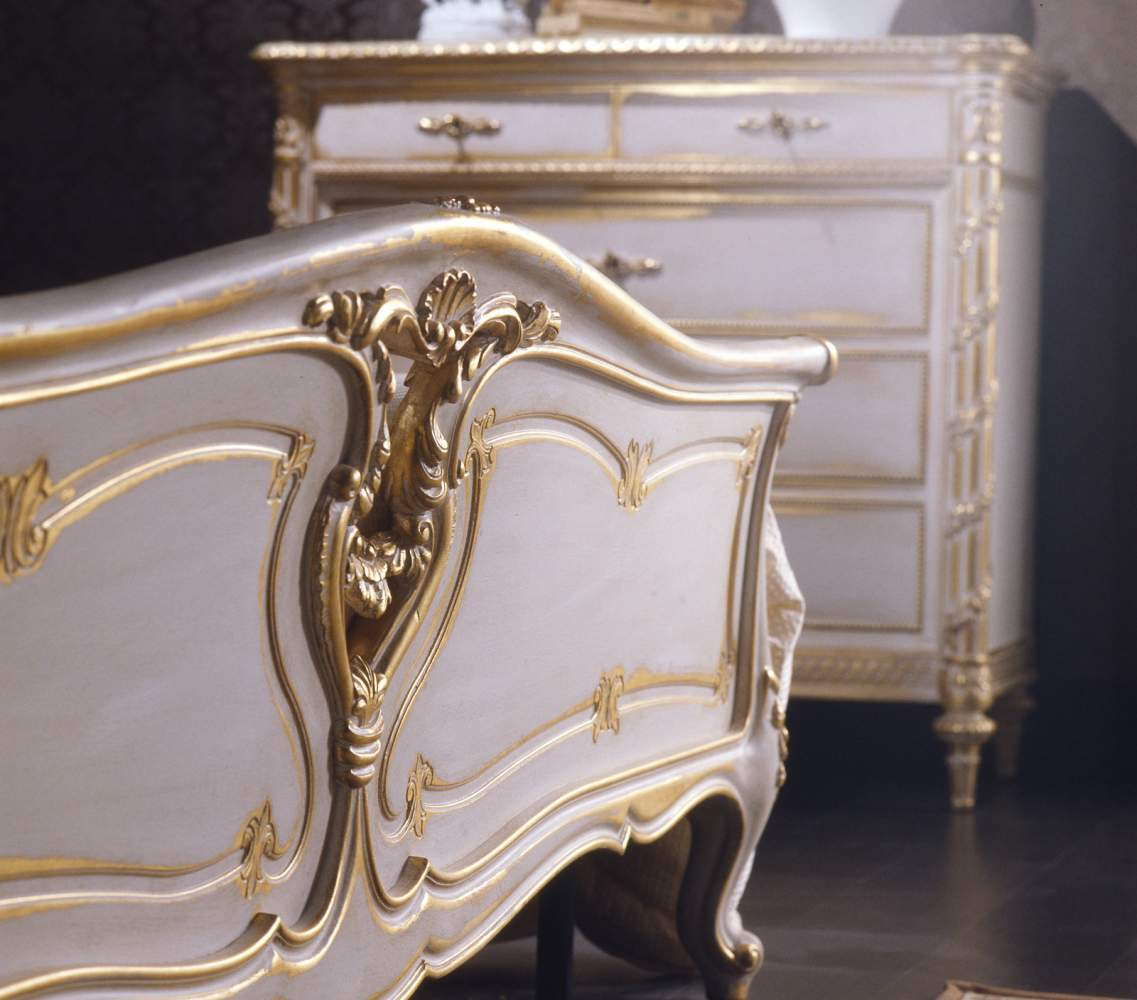 Classic Louis XVI bedroom, bed and chest of drawers carved in wood white over gold finishing