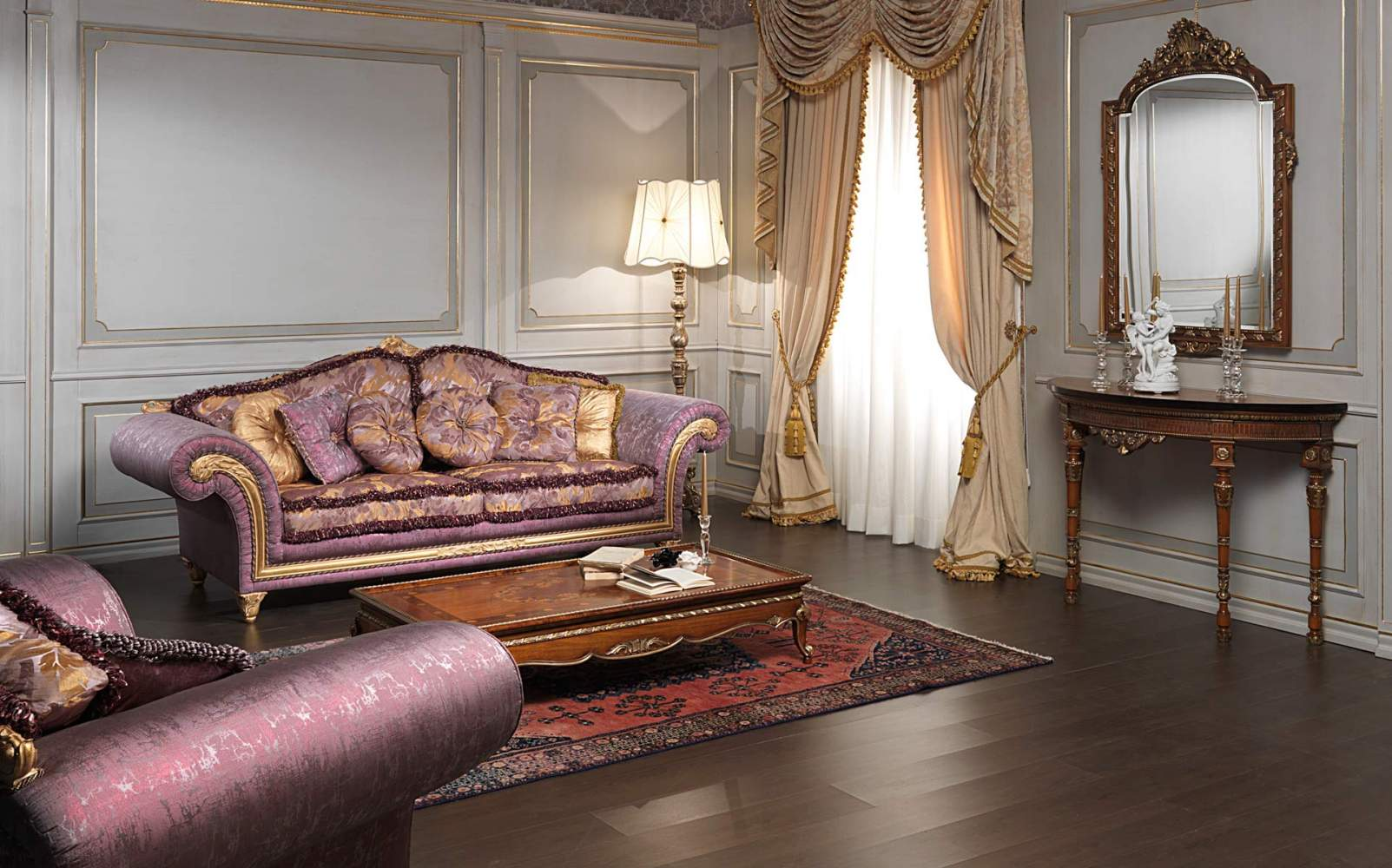 Classic living room Imperial in violet fabric
