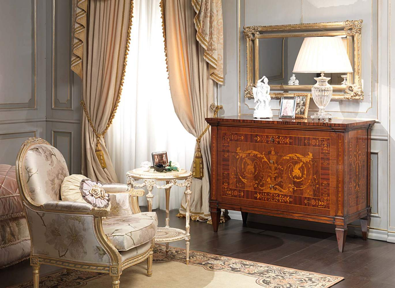 Classic Maggiolini bedroom, chest of drawers, wall mirror, armchair