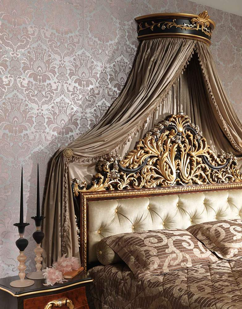 Classic Emperador Black bedroom, bed with carved headboard, wall baldaquin