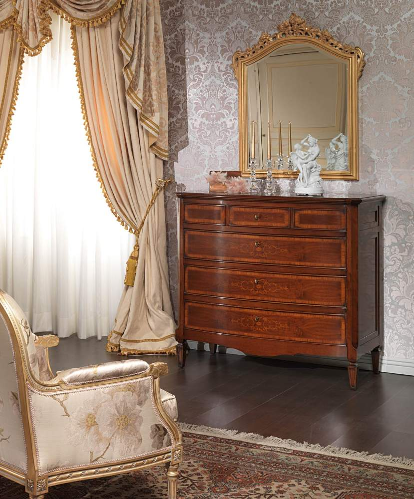 Inlaid chest of drawers and mirror