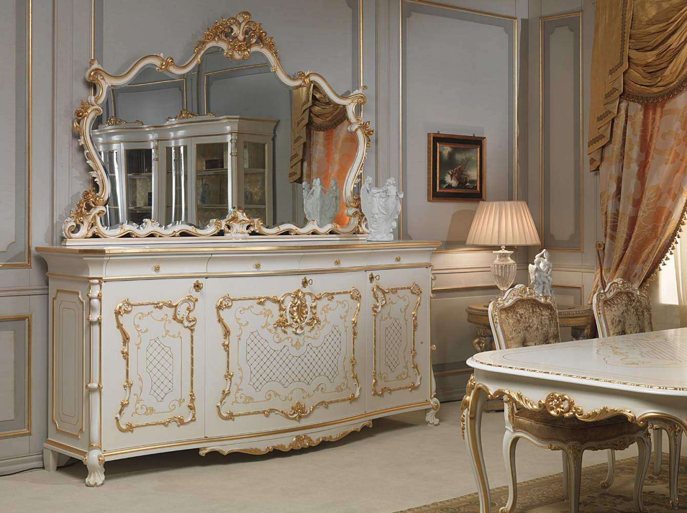 Sideboard, table and chairs in Louis XV style