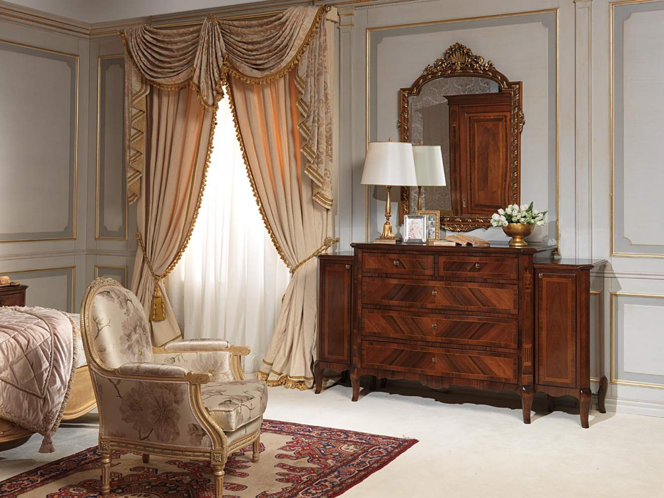 Classic 19th century french bedroom, chest of drawers in walnut, wall mirror and armchair