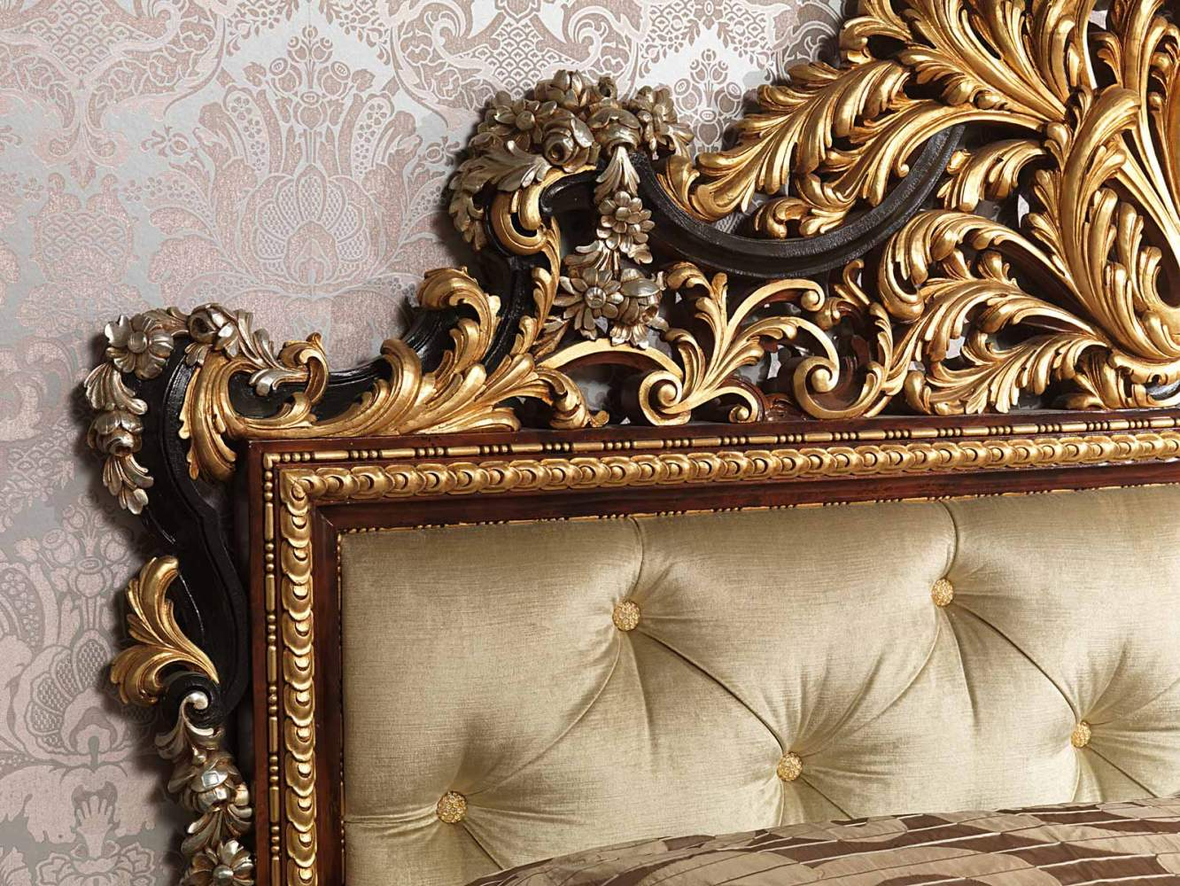 Classic Emperador Black bedroom, bed with capitonnè headboard and floral carvings