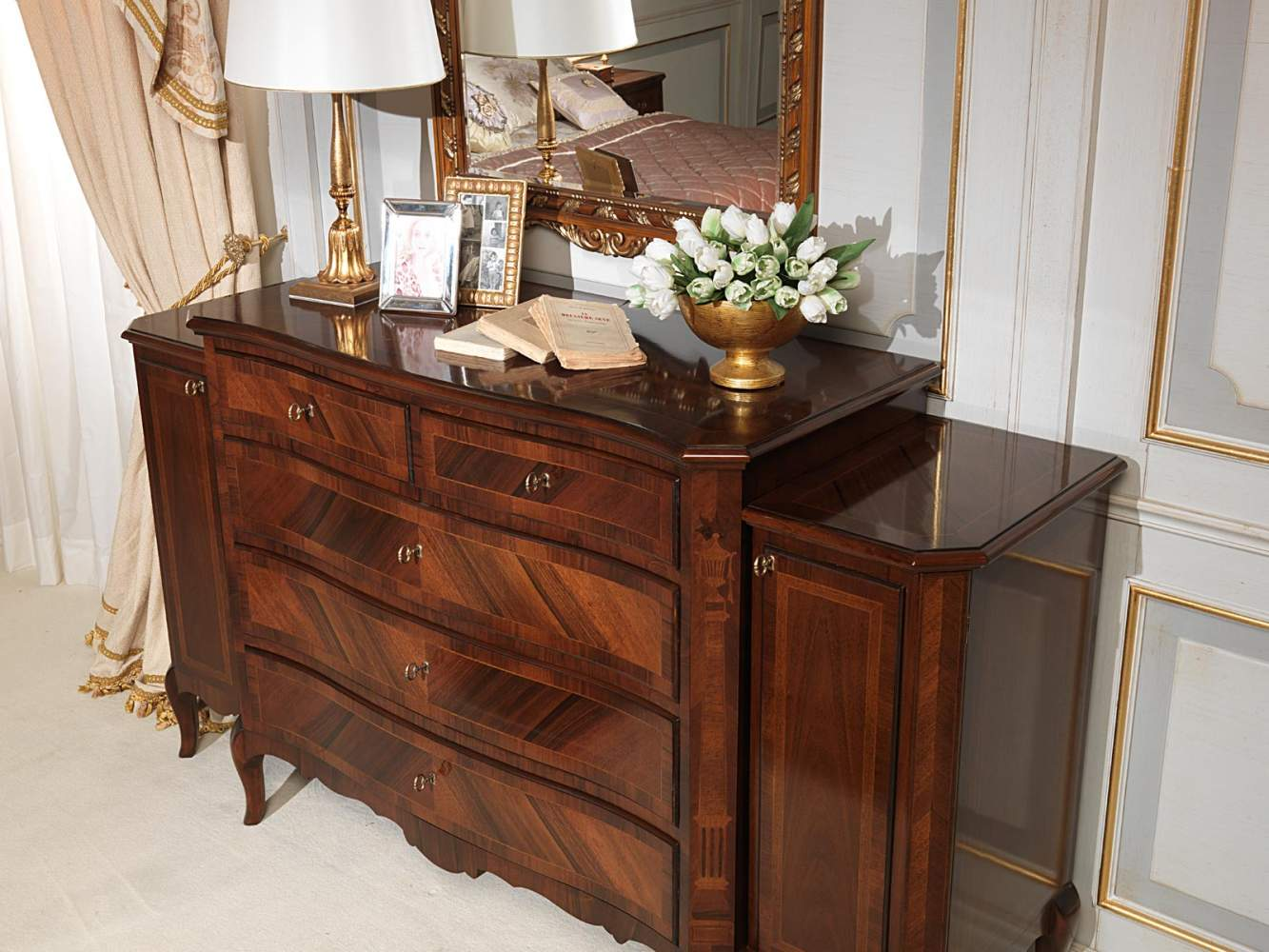 Classic 19th century french bedroom, chest of drawers with side doors