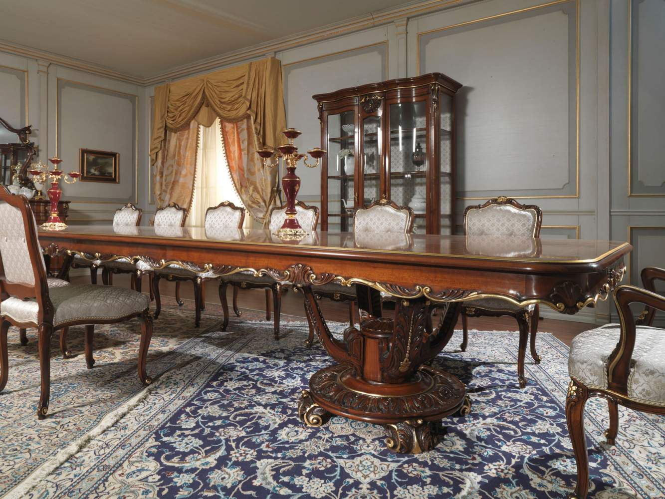 Carved table and glass showcase in louis xv style for 13 a table paris