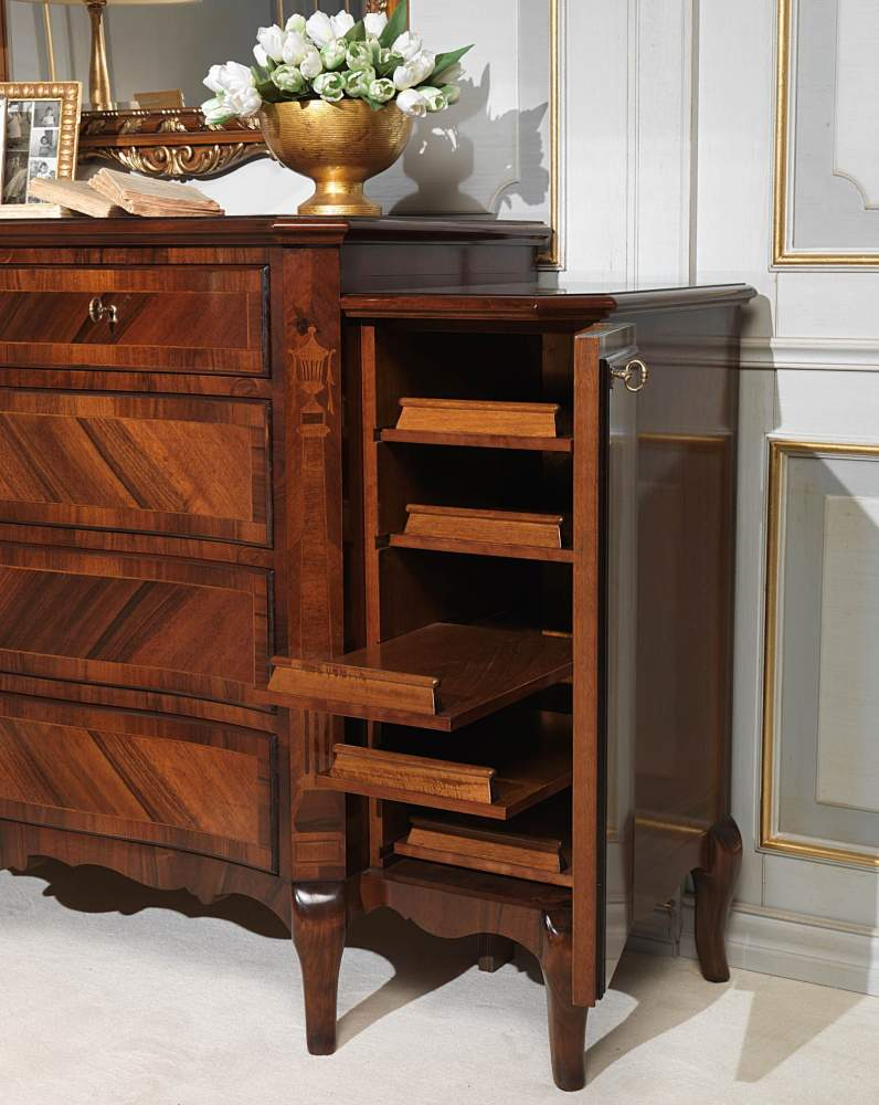 19th century french bedroom, chest of drawers in walnut with side doors