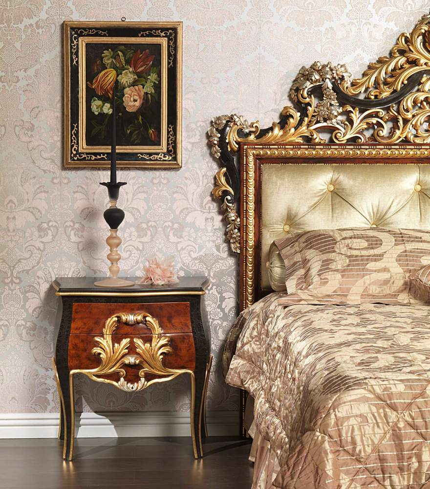 Classic Emperador Black bedroom, bed and night tables carved by hand
