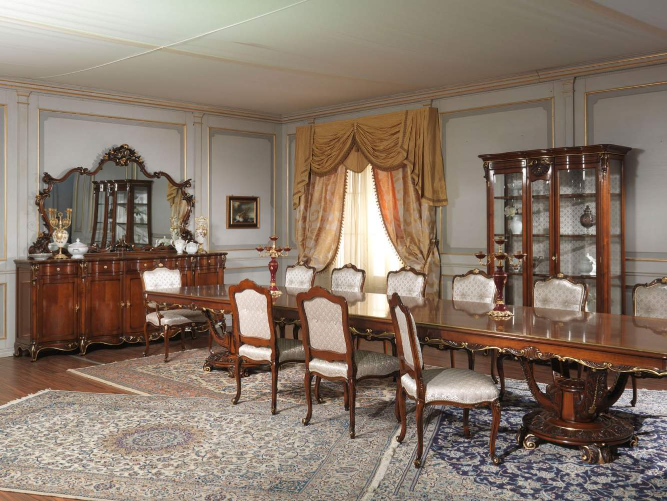 Table, sideboard and glass showcase Louis XV style