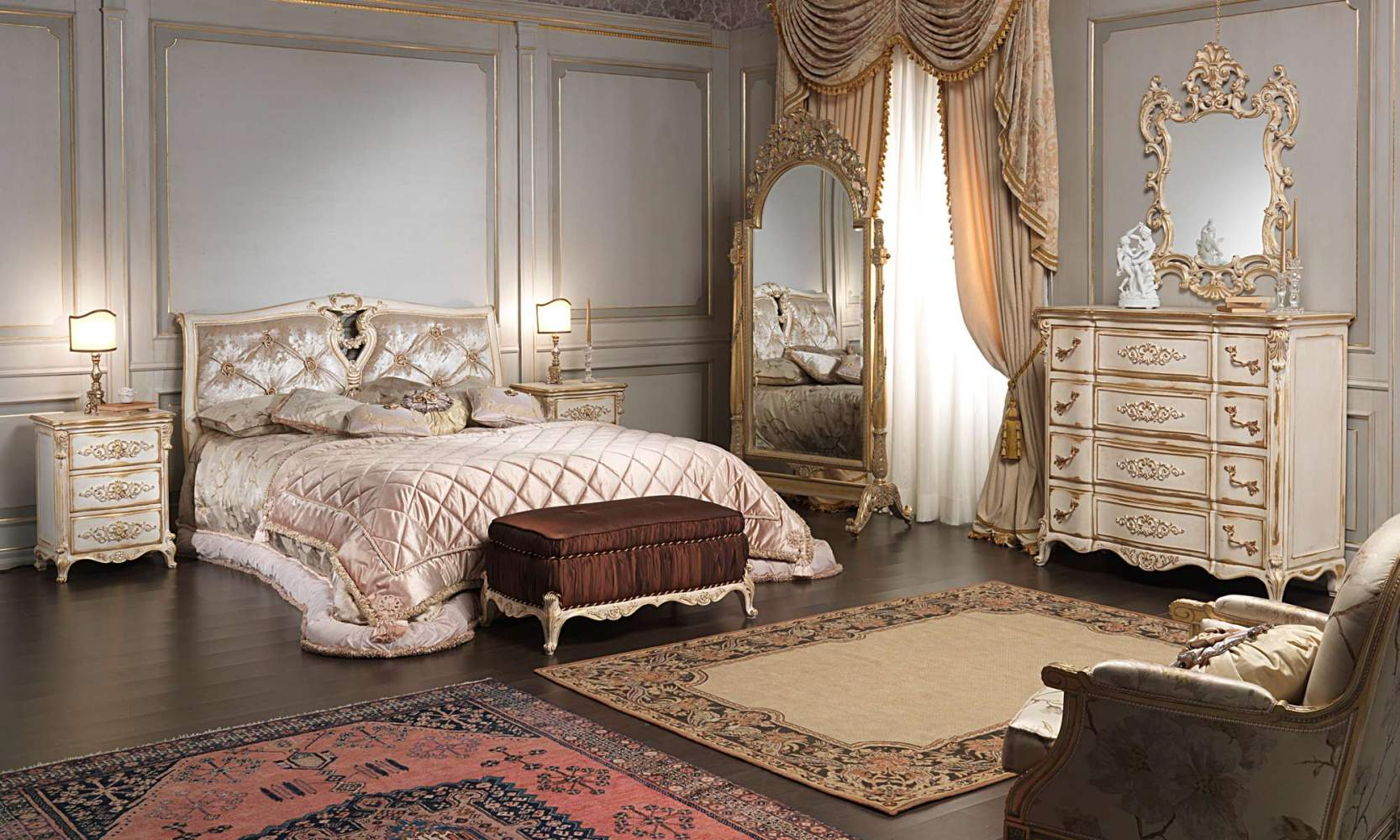 Classic Louis XVI bedroom, bed, padded bench, chest of drawers, night table, wall mirror and mirror with wheels