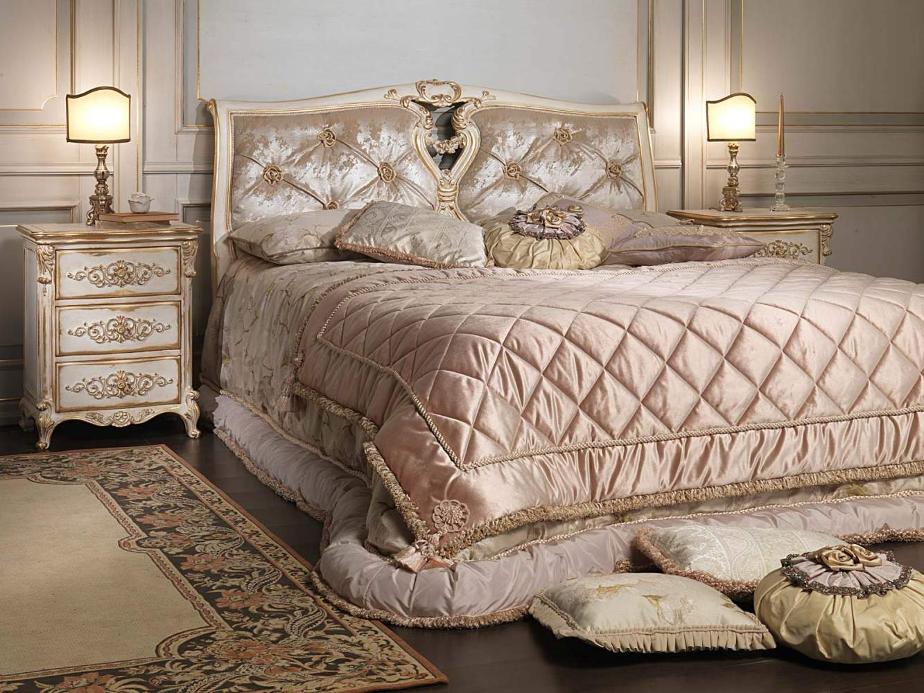 Classic Louis XVI bedroom, bed with capitonnè headboard and carved wood night table