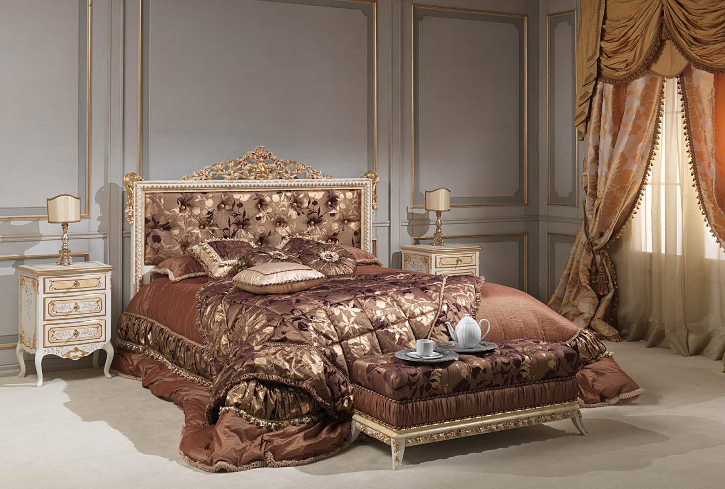 Classic Louvre bedroom, capitonnè bed in ivory, chest of drawers