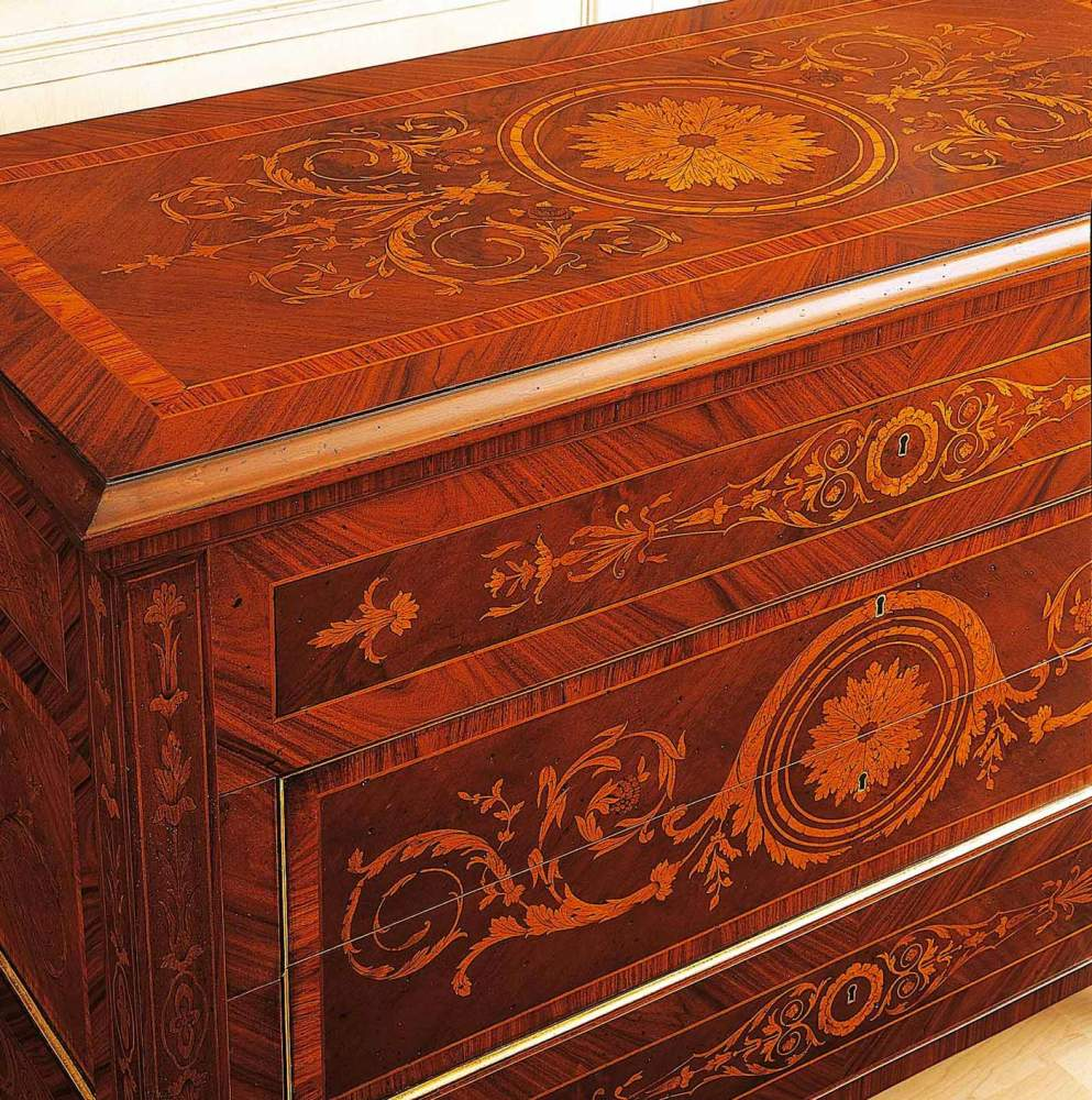 Classic Maggiolini bedroom, chest of drawers inlaid finishing in antique walnut