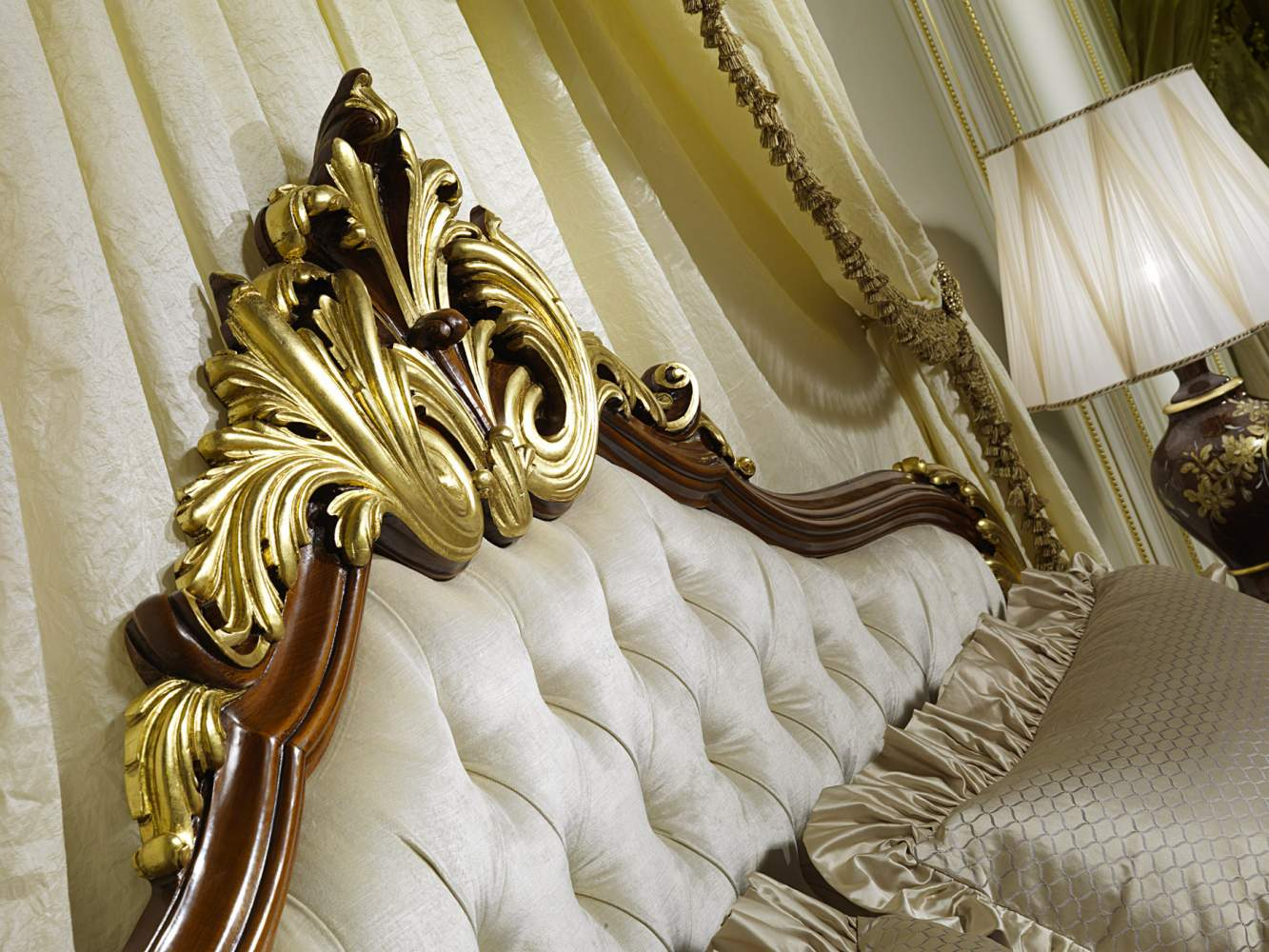 Elegant headboard of the classic bed Louis XV France