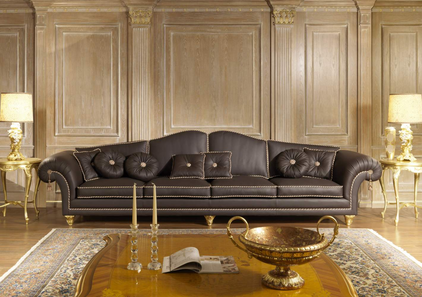 Extra large sofa in leather