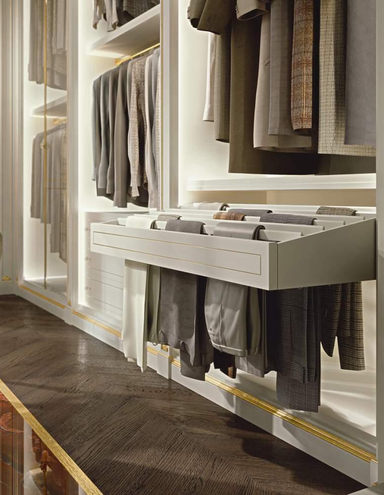 Walk-in closet wardrobe with trouser hanger