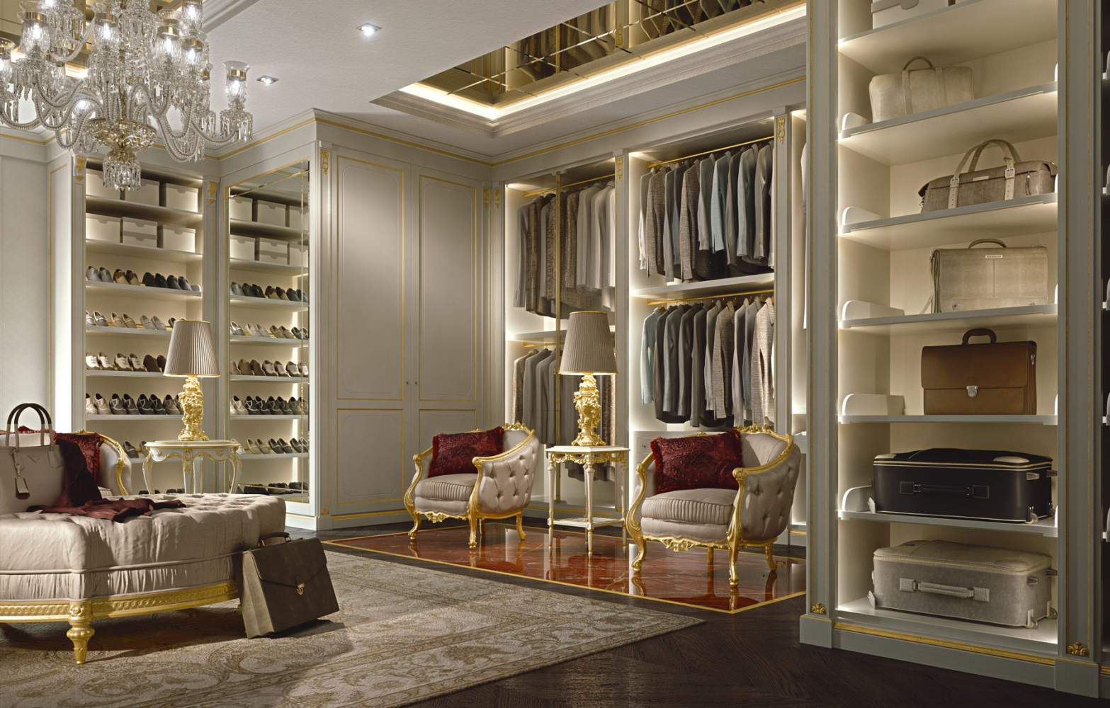 Well-organized walk-in closet wardrobe